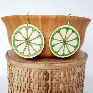 Lime design earrings made of natural wood